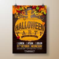 Illustration de flyer fête Halloween avec les feuilles de l'automne vecteur