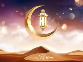 calligraphie eid mubarak avec lanterne vecteur