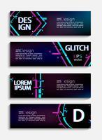 Ensemble de bannières et de flyers modernes avec style glitch vecteur