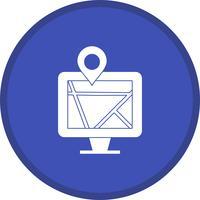 Carte sur l'icône remplie de moniteur