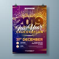 Affiche de célébration de fête du nouvel an 2019 vecteur