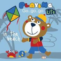 Ours jouant au cerf-volant sur la plage drôle de bande dessinée, illustration vectorielle vecteur