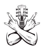 Vecteur de mains croisées rock