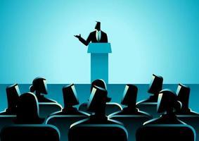 homme prononçant un discours sur scène vecteur