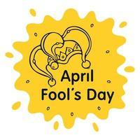 carte de voeux du poisson d'avril. vecteur de chapeau de bouffon sur fond jaune