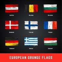 Jeu de vecteur de drapeaux grunge