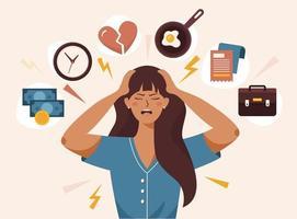 femme stressée avec facteur d'irritation bouche ouverte vecteur