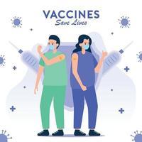 homme et femme après avoir été vaccinés vecteur