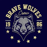 Emblème grunge de mascotte de loup vecteur