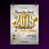 Affiche de la fête du nouvel an 2019 vecteur