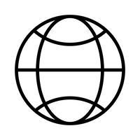 Icône de ligne noire du monde