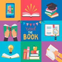Ensemble de 9 icônes avec les concepts du livre.