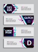 Ensemble de 4 bannières et flyers modernes, style glitch. vecteur