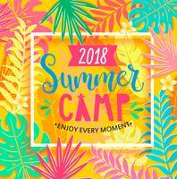 Camp d'été 2018 inscription sur fond de jungle.