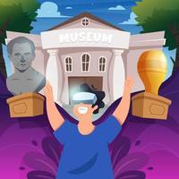tourisme virtuel vr au musée vecteur