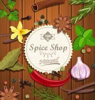 Emblème de papier boutique d'épices. vecteur