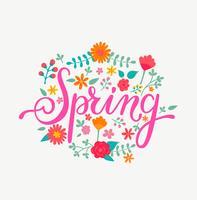 Carte de printemps, inscription dessinée à la main.