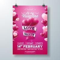 Conception de flyers de fête d'amour de Saint Valentin