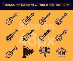Jeu d'icônes d'instruments à cordes. Icônes de contour base sur 48 pixels avec pixel parfait