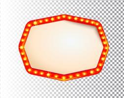 Cadre lumineux d'ampoule rétro isolé brillant vecteur