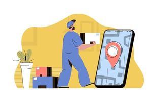 concept de livraison intelligent pour site Web et site mobile vecteur