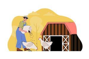 concept d'élevage de volailles pour site Web et site mobile vecteur