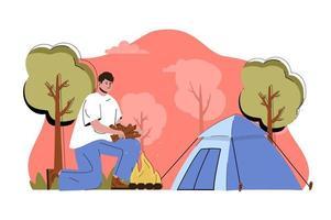 concept de repos dans la nature pour site Web et site mobile vecteur