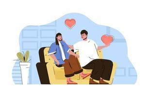 concept de soirée romantique pour site Web et site mobile vecteur