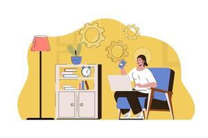 concept de lieu de travail à distance pour site Web et site mobile vecteur