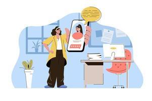 concept de service d'assistance pour site Web et site mobile vecteur