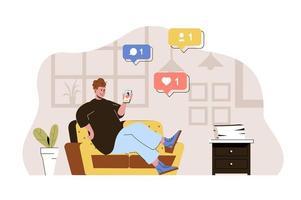 concept de réseau social pour site Web et site mobile vecteur