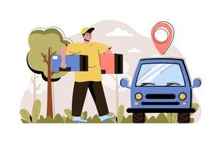 concept de livraison de commande pour site Web et site mobile vecteur