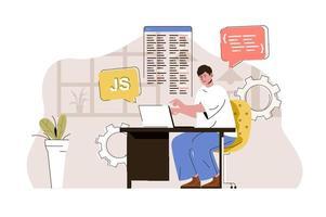 concept de développeur web pour site web et site mobile vecteur