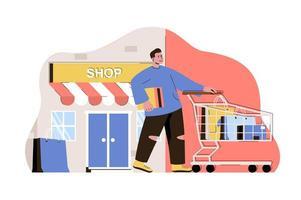 concept de shopping et de vacances pour site Web et site mobile vecteur
