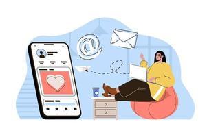 concept de marketing des médias sociaux pour site Web et site mobile vecteur