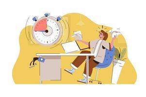 concept de date limite de gravure pour site Web et site mobile vecteur