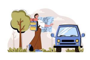 concept d'impressions de voyage pour site Web et site mobile vecteur
