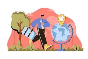 voyager dans le monde concept pour site Web et site mobile vecteur