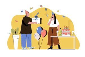 concept de fête surprise pour site Web et site mobile vecteur