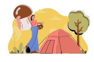 concept de vacances en camping pour site Web et site mobile vecteur