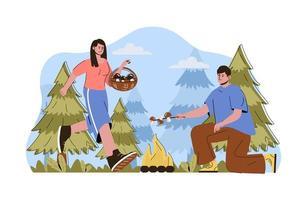 concept de camping caravane pour site web et site mobile vecteur