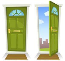 Porte verte de dessin animé, ouverte et fermée
