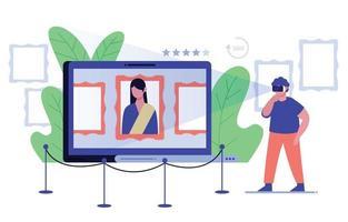 tourisme virtuel sur le concept de musée d'art vecteur