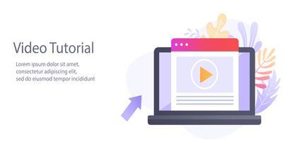 Tutoriel vidéo pour l'éducation en ligne. vecteur