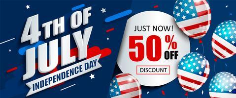 50% de rabais sur la bannière de vente pour le jour de l'indépendance.