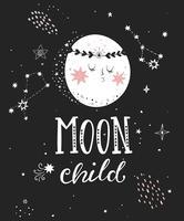 Affiche enfant lune avec la pleine lune.
