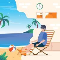 tourisme vr au concept de plage vecteur