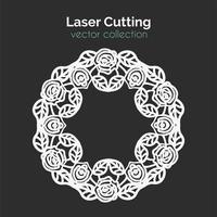 Gabarit de découpe laser. Carte ronde avec des roses.
