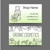 Affaires avec des bouteilles cosmétiques. Illustration de cosmétiques bio.