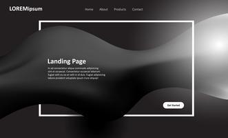Conception de pages de destination pour sites Web en noir et blanc vecteur